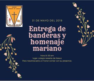 Entrega de banderas y homenaje mariano